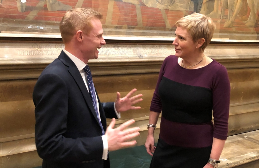 Robbie Moore MP discussing funding options with Roads Minister Baroness Vere of Norbiton.